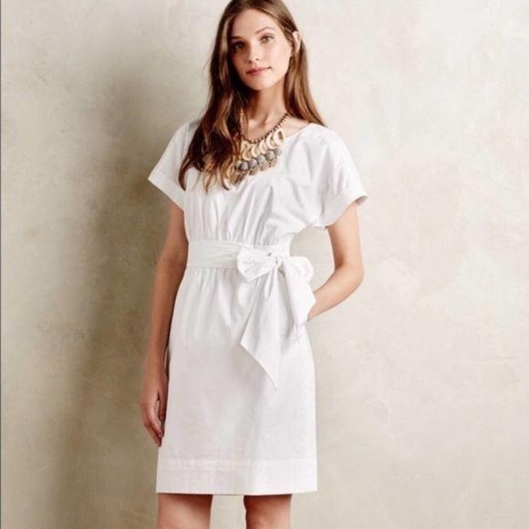 HD in Paris Anthropologie Wrap Tie Dress in White